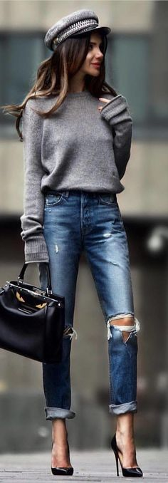 #spring #outfits gray sweater, distressed blue denim jeans, black leather handbag, and pair of black heeled pumps outfit. Pic by @rome_fashion_style