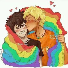 Don't know who these folks are, but it's very gay so it's here<<< It is solengelo aka Will Solace and Nico di Angelo from the Percy Jackson books! Will Solace, Lgbt Love, Rick Riordan Books, Percy Jackson Fandom, Heroes Of Olympus, Gay Art, Gay Pride, Pride Flag, Fandoms