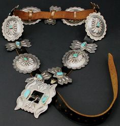 Navajo Silver and Turquoise Concho Belt c. 1940