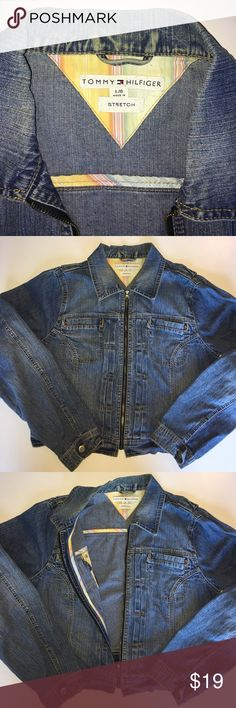 """Women's Tommy Hilfiger zip jean jacket Size Large Women's Tommy Hilfiger zip jean jacket. It's not perfect but its in good condition and looks good. Pit to Pit: 20"""" Full length:  21"""" Size Large Tommy Hilfiger Jackets & Coats Jean Jackets"""