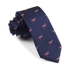 The Navy Blue Pink Flamingo Skinny Tie | Slim Thin Ties Neckties Necktie | OTAA