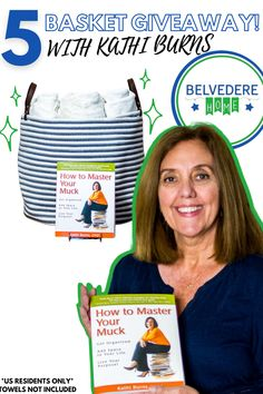 Win 1 of 5 extra Large Belvedere Home Goods Organization Basket and Professional Organizer Kathi Burns' book and Amazon Best Selling book - How to Master Your Muck!   🌟 Follow the link 🌟 Enter your email address 🌟 BONUS: Follow instructions for more entries The contest runs until March 2nd at 12:00 pm EST. The winner will be announced on March 3rd via Belvedere Home Good's story. The giveaway will not be sponsored, endorsed or administered by or associated with Pinterest.