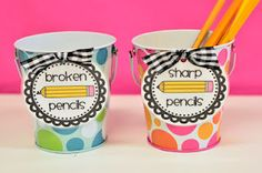 Mrs. Ricca's Kindergarten: Pencil Cup Labels {Freebies}