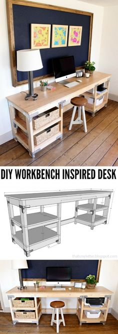 It is a huge table that gives a lot of workspace, you can have big shelves where you can store a printer or storage baskets. If you like industrial looks and need a lot of space, then this table will provide it all. It is also quite straightforward to make.