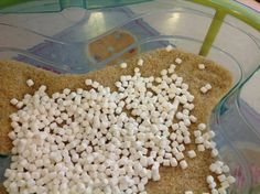 Dried marshmallows with rice in the sensory table.