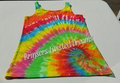 Tie Dye- Ladies Tank Top- Size Medium- Sleep wear- Undershirt- Spiral- Rainbow Christmas Gift- Cheap Christmas Gift- Sleeveless Tee-shirt by BrinserTwistedDreams on Etsy