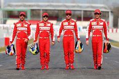 Ferrari-drivers (Marc Gené, Felipe Massa, Fernando Alonso, Pedro de la Rosa)