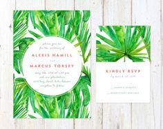 Tropische Hochzeit Einladung tropische Blumen von AlexaNelsonPrints