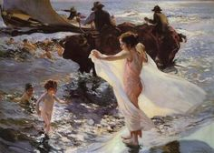 Cheap art, Buy Quality painting art gallery directly from China art history painting Suppliers: wall art Bathing Time by Joaquin Sorolla y Bastida decor paintings Hand painted High quality Spanish Painters, Spanish Artists, Valencia, Art Plage, Impressionist Paintings, Claude Monet, Beach Art, Figure Painting, Great Artists