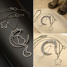 cat, moon and stars necklace made for charity auction.