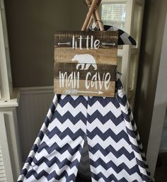 Little man cave sign, teepee sign, little man cave playroom sign, little man cave painted wood sign, Little boys room, boys bedroom sign by BrienneFarmersMarket on Etsy