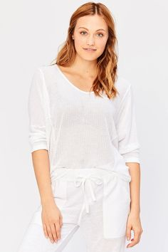 Guthrie Top in Cotton/Tencel Mesh in White – XCVI