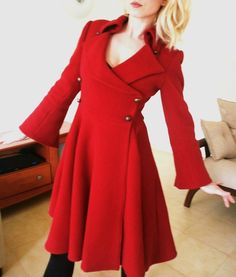 Cherry red victorian wool coat cocktail coat by angelikaliv on Wanelo