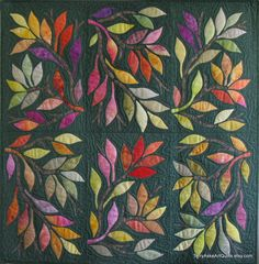 Lovely leaf appliques over the entire quilt. If only I could applique. Applique Patterns, Applique Quilts, Quilt Patterns, Hand Applique, Small Quilts, Mini Quilts, Quilting Projects, Quilting Designs, Wool Quilts