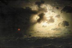 Marcus Larson (1825-1864), Nuit sur la Mer - 1858