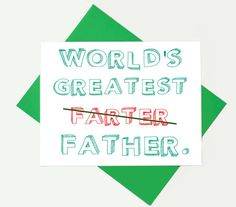 Funny Father's Day card, Dad Birthday, Fathers day - World's Greatest Farter on Etsy, $4.00