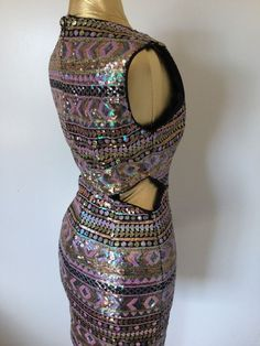 Sequin Tribal Geometric Iridescent Cut Out Bodycon Sexy Dress Curvy Size Small…