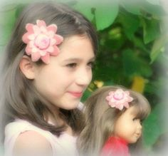 Matching Flowers Hair Clips American Girl Doll & Me by sofisticata http://sofisticata.etsy.com MANY more colors! LOVE custom orders! Pink Felt Flowers for your Daughter & favorite doll! :) Christmas Gift Idea!!