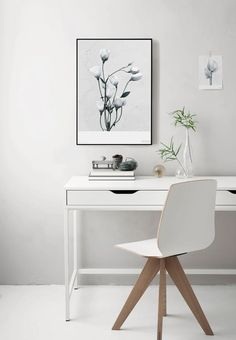 White and light home office, with Nordic inspired interior. Peaceful and elegant with space for details that can stand out.