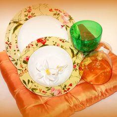 platos verdes flores