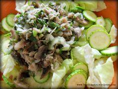 Salata verde cu ciuperci si telina Cold Vegetable Salads, Raw Vegan, Interior Design Kitchen, Soup And Salad, Cobb Salad, Vegetarian Recipes, Mexican, Dinner, Vegetables