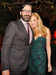 Jon Hamm has gone SCRUFFY! Check out the bearded dude, in sleek rectangular specs, hangin' with his longtime love at a Los Angeles party!
