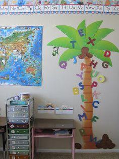 Great idea for the alphabet. An ABC tree. Like a word wall for preschool. Kids would love for chicka chicka boom boom! Preschool Literacy, Preschool Letters, In Kindergarten, Preschool Activities, Learning Letters, Preschool Garden, Educational Activities, Preschool Ideas, Summer Activities