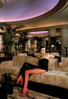 Twiggy lounges in the art deco inspired Rainbow Room restaurant in the Big Biba shop.