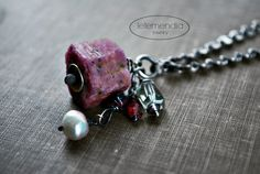 Raw Ruby Necklace Nugget Rustic Coin Sterling Silver Chain Beaded Long Rough Cut Boho Oxidized Silver Jewelry Ethnic Letemendia Jewelry by letemendia on Etsy