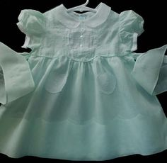 Vintage Outstanding Mint Green Cotton Batiste baby dress, circa 50's
