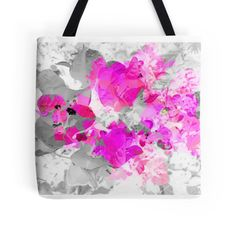 Abstract pink floral art (bougainvillea) tote bag. #Abstract #Floral #Art #Pink #Bougainvillea