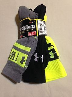 MENS SIZE L UNDER ARMOUR PERFORMANCE CREW SOCKS FITS SHOE SIZE 9 - 12 NWT