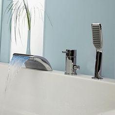 LED Wasserfall Badewanne Wasserhahn mit ausziehbarer Brause ... | {Badewannen armaturen wasserfall 55}