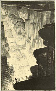 Hugh Ferriss http://silodrome.com/skyscraper-hangar-in-a-metropolis-hugh-ferriss/