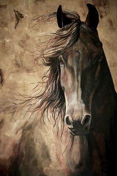 SABIDURÍA 12 x 18 impresión de pintura acrílica de un caballo. alta calidad impresión decoración para el hogar Giclée impresión equina