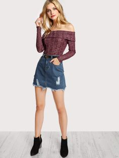 Long sleeve off shoulder stretch knit bodysuit burgundy -shein(sheinside) Burgundy Bodysuit, Skinny Overalls, Marina Laswick, Romper With Skirt, Body Suit Outfits, Jeans, Dress Cuts, Couture, Streetwear Fashion