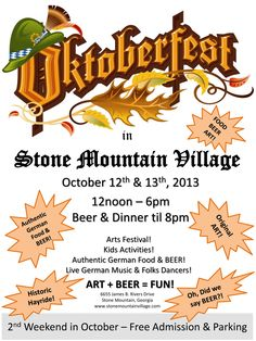 Stone Mountain Village Hosts 5th Annual Oktoberfest Beer & Arts Festival October 12th & 13th, 2013