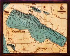 Crystal Lake, Michigan | Nautical Wood Chart | Wood Map | Art - The Wooden Sailor | Wood Charts | Wood Maps