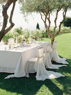 Under the olive trees. Elegant wedding table at hotel caruso in ravello, Italy. Styling by joy proctor design. Photo by Camilla Jorvad