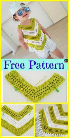 Crochet Little Girl Summer Top - Free Pattern - Crochet . Crochet Little Girl Summer Top - Free Pattern - Crochet boy girl Knitting works are the time. Débardeurs Au Crochet, Poncho Crochet, Crochet Toddler, Baby Girl Crochet, Crochet Baby Clothes, Crochet For Kids, Patron Crochet, Chevron Crochet, Crochet Dresses