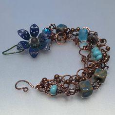 Handmade copper and lampwork bracelet