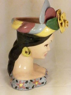 Rare Head Vases | Large Vintage Lady Head Vase - Planter by KAYE from rtfantiques on ...
