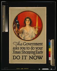 Canvas 1918 The government asks you to do your Xmas shopping Art print POSTER