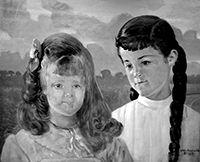 Rozdół 1905. (od lewej) Adelajda i Karolina hr. Lanckorońskie, pędzla Jacka Malczewskiego