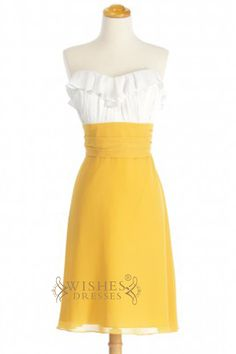 Chiffon strapless knee length dress with a sweetheart neckline. white chiffon top with ruffle details and yellow a -line skirt. Neckline:Sweetheart Length:Knee length Details:Ruffle Fabric:Elastic Sat