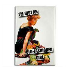 Old-Fashioned Girl Rectangle Magnet > Funny Fridge Magnets > Cafe Pretzel T-Shirts & Gifts #funny #fridge #magnet