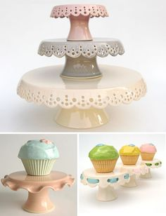I have a mildly unhealthy obsession with cake stands. and cupcake stands. Cupcake Tier, Cake And Cupcake Stand, Cupcake Cakes, Pretty Cakes, Cute Cakes, Beautiful Cakes, Take The Cake, Love Cake, Ceramic Art