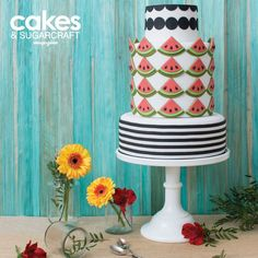 Watermelon cut-out geometric cake tutorial with stripes by Emma Iivanainen for the Spring 2015 issue of Cakes & Sugarcraft magazine