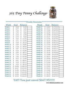 Easy Ways to Save Money - The Latina Next Door 365 Penny Challenge - Weekly Calendar Penny Challenge - Weekly Calendar Tracker 365 Day Penny Challenge, Savings Challenge, Money Saving Challenge, Money Saving Tips, Money Tips, Money Savers, 52 Week Savings, Savings Plan, Retirement Savings