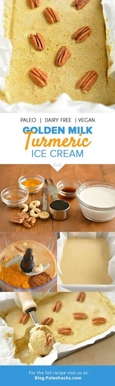 Grab a bowl and dive into this no-churn Golden Milk Turmeric Ice Cream. It's made with cashews and pecans for a sweet and creamy dessert. Paleo Ice Cream, Milk Ice Cream, Ice Cream Recipes, Paleo Dessert, Healthy Desserts, Dessert Recipes, Healthy Recipes, Milk Recipes, Sorbet